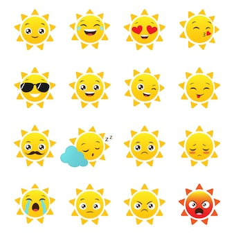 Vector sol emojis sobre un fondo blanco.