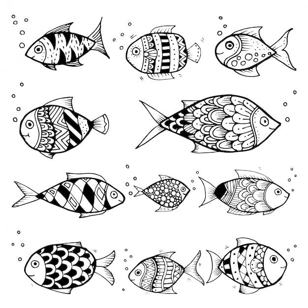 Vector de sorteo de mano en blanco y negro, personajes de peces establecen estilo doodles ilustración para colorear para niños vector.