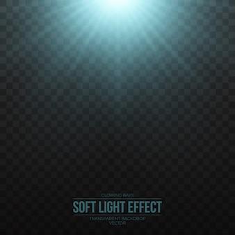 Vector suave efecto de luz azul sobre fondo transparente
