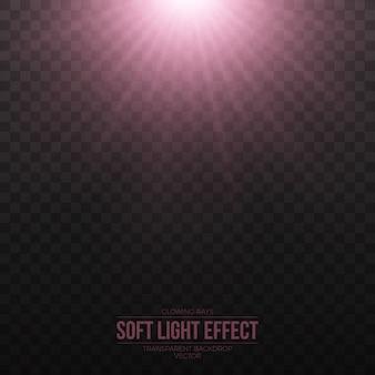 Vector suave efecto de luz rosa sobre fondo transparente