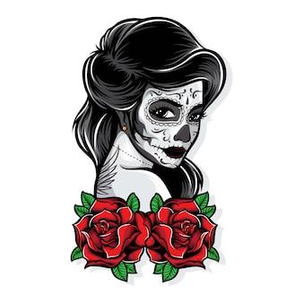 Vector de sugarskull con rosas