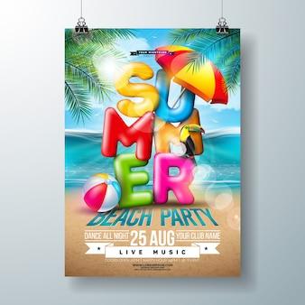 Vector summer beach party flyer design con letra de tipografía 3d y hojas de palmeras tropicales en el fondo del paisaje del océano. diseño de vacaciones y vacaciones