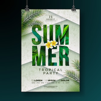 Vector summer party flyer design con flores y hojas de palmeras tropicales