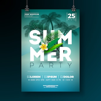 Vector summer party flyer design con flores y palmeras tropicales