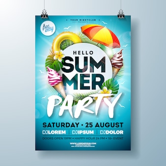 Vector summer party flyer design con sombrilla y helado