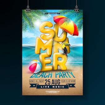 Vector summer party flyer design con tipografía 3d y hojas de palmeras tropicales
