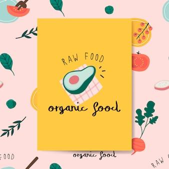 Vector de tarjeta de alimentos orgánicos crudos aguacate