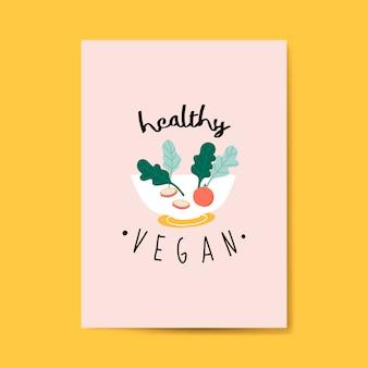 Vector de tarjeta de ensalada vegana saludable