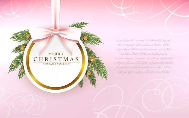 Vector tarjeta de felicitación de navidad y año nuevo con arco de marco redondo y ramas de abeto sobre fondo rosa