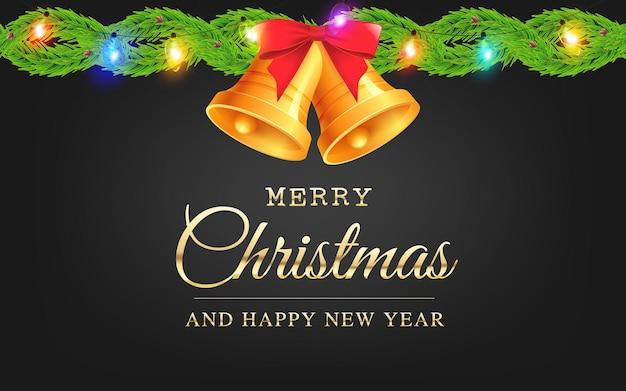 Vector tarjeta de felicitación de navidad y año nuevo con campanas, luces de navidad y ramas de abeto en negro