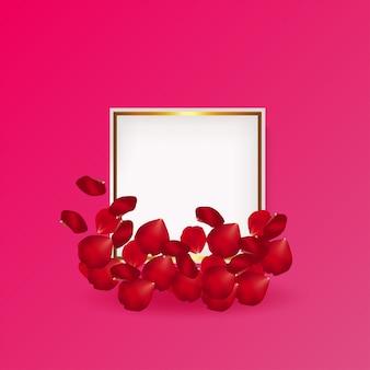 Vector de tarjeta de felicitación de pétalos de rosa