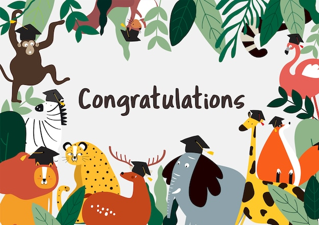 Vector de tarjeta de felicitaciones de estilo de dibujos animados de animales