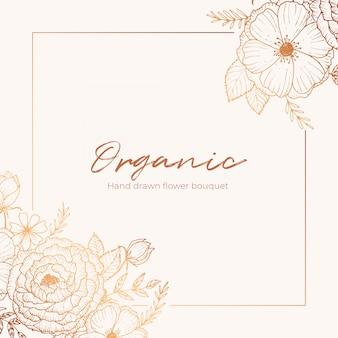 Vector de tarjeta floral dibujado a mano orgánico diseño flor de jardín lavanda rosa anémona blanca tomillo de eucalipto hojas de elegante verdor, baya, impresión de ramo de bosque.