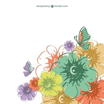 Vector de tarjeta con flores de colores