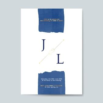 Vector de tarjeta de invitación de boda azul