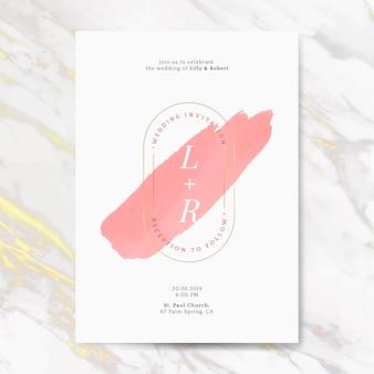 Vector de tarjeta de invitación de boda rosa