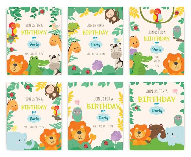 Vector de tarjeta de invitación de fiesta de cumpleaños de tema animal lindo.