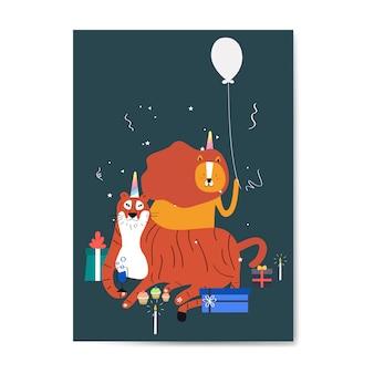 Vector de tarjeta de invitación temática animal