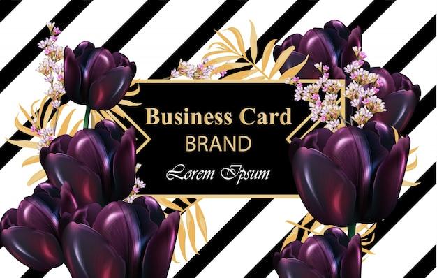 Vector de tarjeta de lujo de tulipanes negros. hermosa ilustración de invitación, boda, libro de marca, tarjeta de visita o póster. lugar para textos