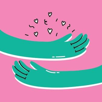 Vector tarjeta de motivación con signo de mano ámate a ti mismo todo estará bien elegante fondo vintage ...