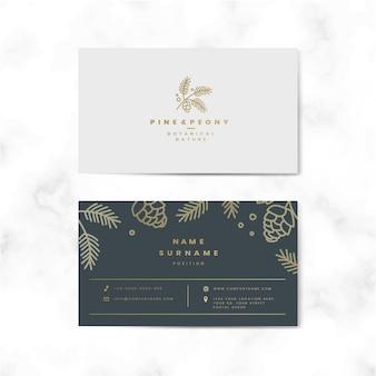 Vector de tarjeta de nombre floral de dos caras