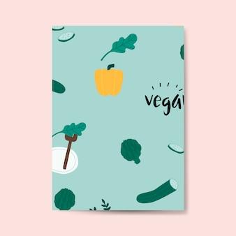 Vector de tarjeta de patrón verde vegano