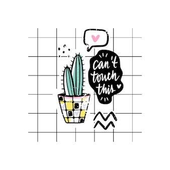 Vector tarjetas con cactus y frase positiva.
