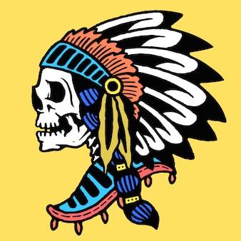 Vector de tatuaje de cráneo indio vieja escuela