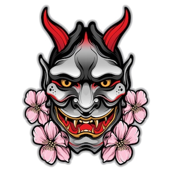 Vector de tatuaje de máscara de hannya