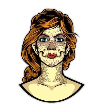 Vector de tatuaje de sugarskull