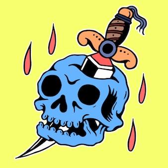 Vector del tatuaje de la vieja escuela del cráneo y de la daga