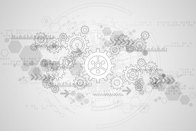 Vector la tecnología de fondo abstracto engrana el concepto.
