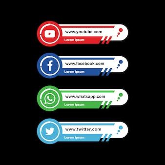 Vector de tercera colección inferior de redes sociales modernas