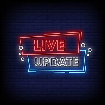 Vector de texto de estilo de letreros de neón de actualización en vivo