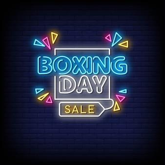 Vector de texto de estilo de letreros de neón de boxing day
