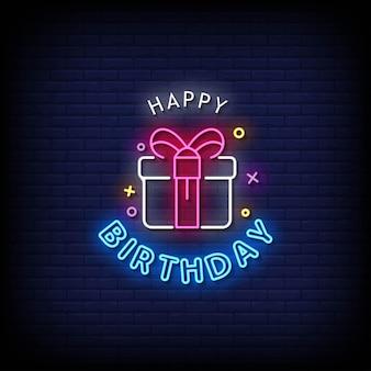 Vector de texto de estilo de letreros de neón de feliz cumpleaños
