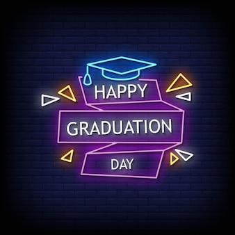 Vector de texto de estilo de letreros de neón de feliz día de graduación