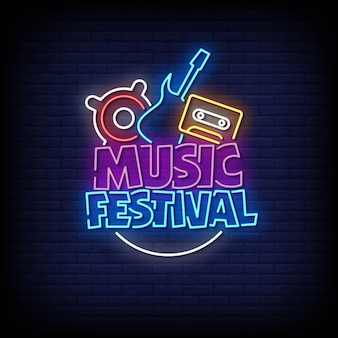 Vector de texto de estilo de letreros de neón de festival de música