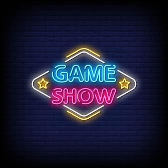 Vector de texto de estilo de letreros de neón de game show