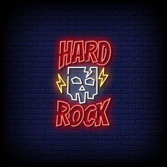 Vector de texto de estilo de letreros de neón de hard rock