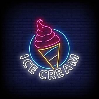 Vector de texto de estilo de letreros de neón de helado