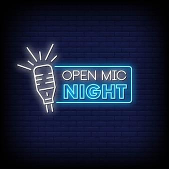 Vector de texto de estilo de letreros de neón de noche de micrófono abierto
