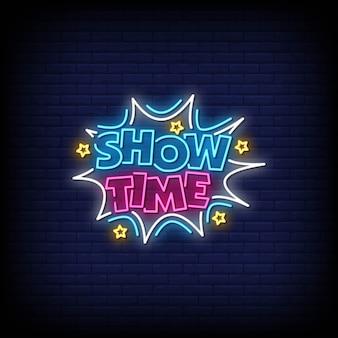 Vector de texto de estilo de signos de neón de show time