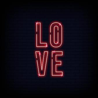 Vector de texto de letreros de neón de amor