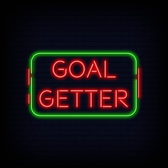 Vector de texto de signo de neón de goal getter