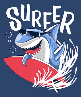 Vector de tiburón surfista con tabla de surf