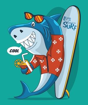 Vector de tiburón surfista con tabla de surf