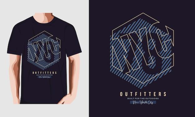 Vector de tipografía de diseño de camiseta de nyc vector premium