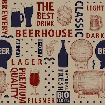 Vector tipográfico cerveza de patrones sin fisuras