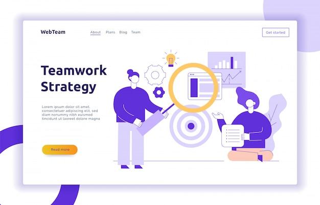 Vector de trabajo en equipo y estrategia empresarial banner de página web